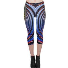 Illustration Robot Wave Rainbow Capri Leggings  by Mariart
