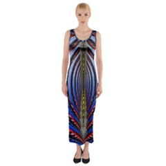 Illustration Robot Wave Rainbow Fitted Maxi Dress by Mariart