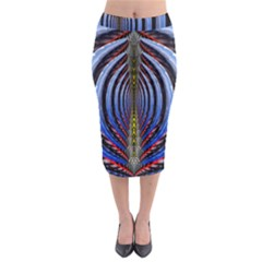 Illustration Robot Wave Rainbow Midi Pencil Skirt by Mariart