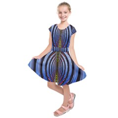 Illustration Robot Wave Rainbow Kids  Short Sleeve Dress by Mariart