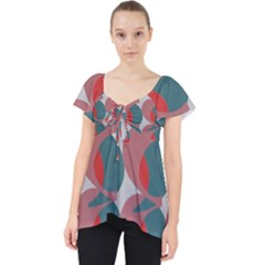 Pink Red Grey Three Art Dolly Top by Mariart