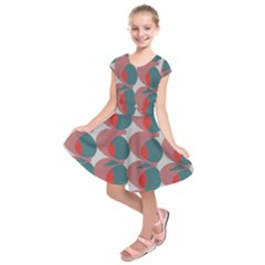 Pink Red Grey Three Art Kids  Short Sleeve Dress by Mariart