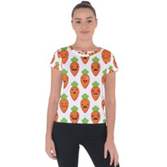 Seamless Background Carrots Emotions Illustration Face Smile Cry Cute Orange Short Sleeve Sports Top  by Mariart