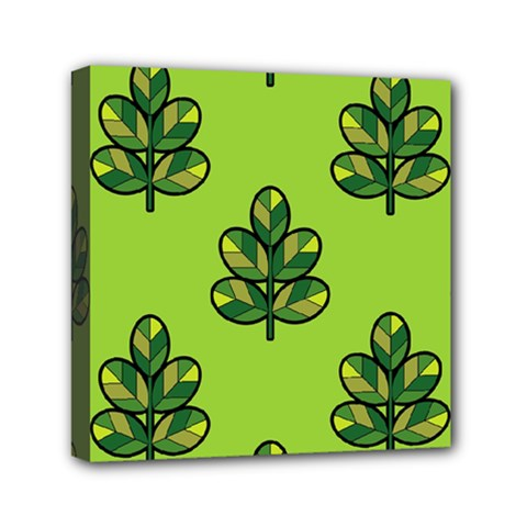 Seamless Background Green Leaves Black Outline Mini Canvas 6  X 6  by Mariart