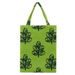 Seamless Background Green Leaves Black Outline Classic Tote Bag by Mariart