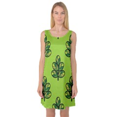 Seamless Background Green Leaves Black Outline Sleeveless Satin Nightdress