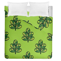 Seamless Background Green Leaves Black Outline Duvet Cover Double Side (queen Size) by Mariart