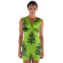 Seamless Background Green Leaves Black Outline Wrap Front Bodycon Dress by Mariart