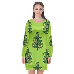 Seamless Background Green Leaves Black Outline Long Sleeve Chiffon Shift Dress