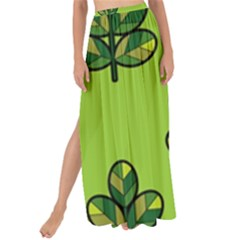 Seamless Background Green Leaves Black Outline Maxi Chiffon Tie Up Sarong