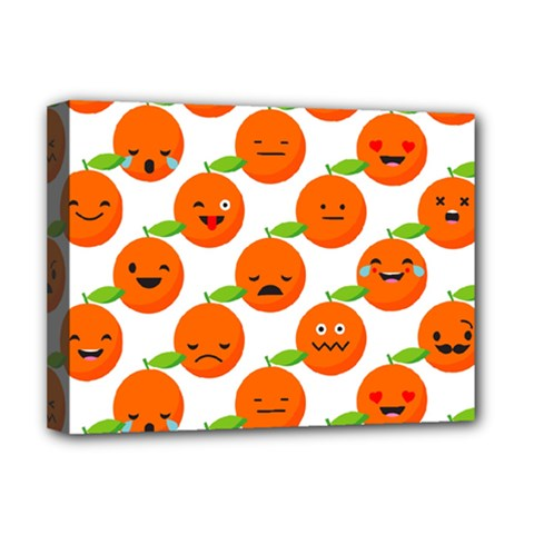 Seamless Background Orange Emotions Illustration Face Smile  Mask Fruits Deluxe Canvas 16  X 12   by Mariart