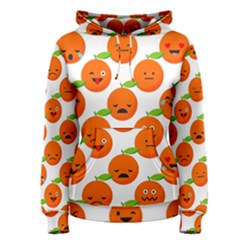 Seamless Background Orange Emotions Illustration Face Smile  Mask Fruits Women s Pullover Hoodie by Mariart