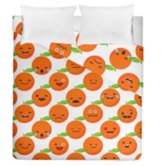 Seamless Background Orange Emotions Illustration Face Smile  Mask Fruits Duvet Cover Double Side (queen Size) by Mariart