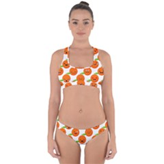 Seamless Background Orange Emotions Illustration Face Smile  Mask Fruits Cross Back Hipster Bikini Set by Mariart