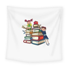 Back To School Square Tapestry (large) by Valentinaart