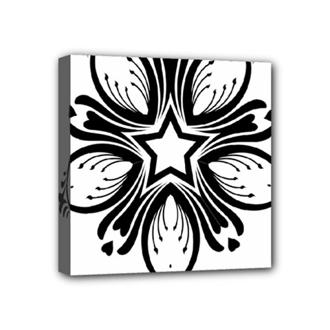 Star Sunflower Flower Floral Black Mini Canvas 4  X 4  by Mariart