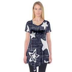 Star Space Line Blue Art Cute Kids Short Sleeve Tunic  by Mariart