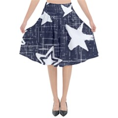 Star Space Line Blue Art Cute Kids Flared Midi Skirt by Mariart