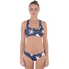 Star Space Line Blue Art Cute Kids Cross Back Hipster Bikini Set