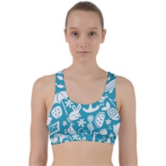 Summer Icons Toss Pattern Back Weave Sports Bra by Mariart