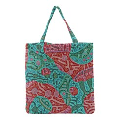 Recursive Coupled Turing Pattern Red Blue Grocery Tote Bag by Mariart