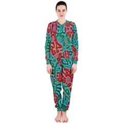 Recursive Coupled Turing Pattern Red Blue Onepiece Jumpsuit (ladies)