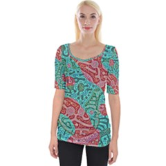Recursive Coupled Turing Pattern Red Blue Wide Neckline Tee