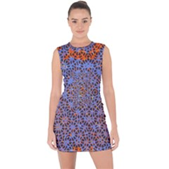 Silk Screen Sound Frequencies Net Blue Lace Up Front Bodycon Dress by Mariart