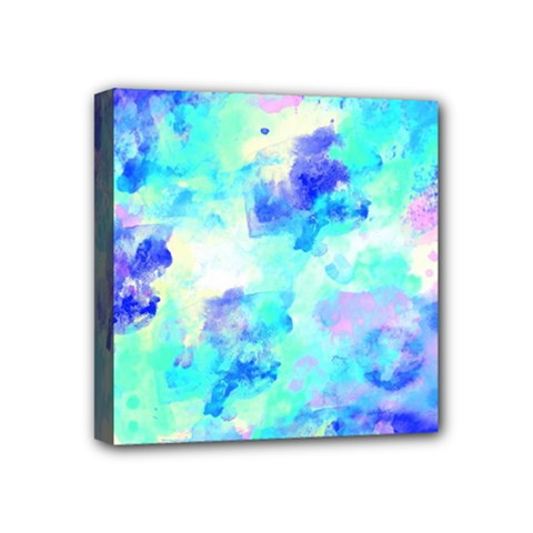 Transparent Colorful Rainbow Blue Paint Sky Mini Canvas 4  X 4  by Mariart