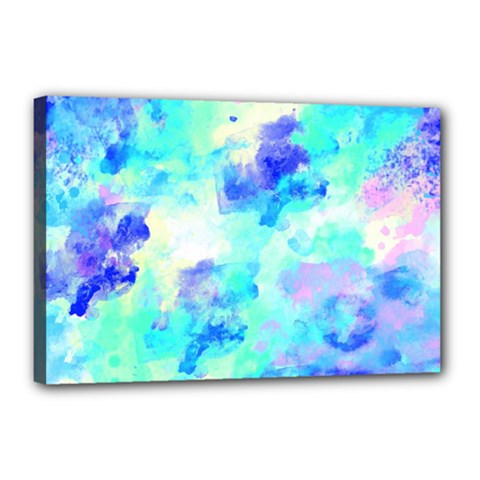 Transparent Colorful Rainbow Blue Paint Sky Canvas 18  X 12  by Mariart