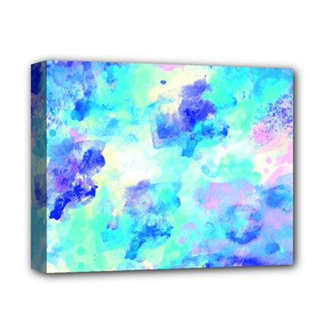 Transparent Colorful Rainbow Blue Paint Sky Deluxe Canvas 14  X 11  by Mariart