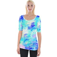 Transparent Colorful Rainbow Blue Paint Sky Wide Neckline Tee by Mariart