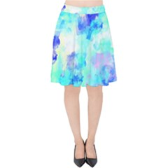 Transparent Colorful Rainbow Blue Paint Sky Velvet High Waist Skirt by Mariart