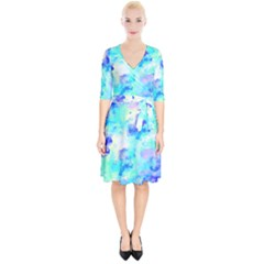 Transparent Colorful Rainbow Blue Paint Sky Wrap Up Cocktail Dress