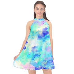 Transparent Colorful Rainbow Blue Paint Sky Halter Neckline Chiffon Dress  by Mariart