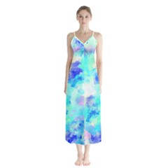 Transparent Colorful Rainbow Blue Paint Sky Button Up Chiffon Maxi Dress by Mariart