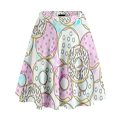 Donuts Pattern High Waist Skirt by ValentinaDesign