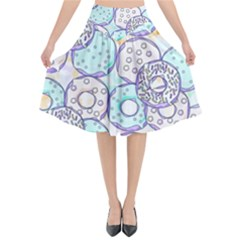 Donuts Pattern Flared Midi Skirt by ValentinaDesign