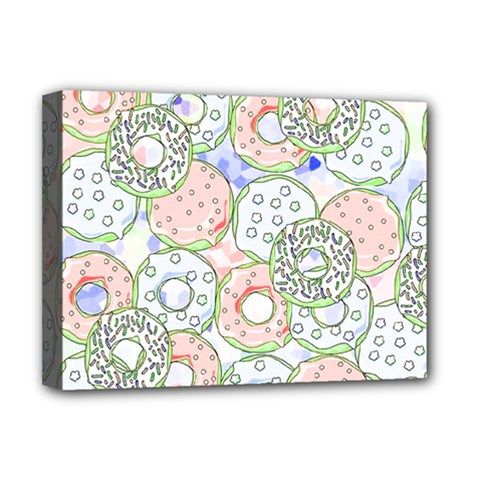 Donuts Pattern Deluxe Canvas 16  X 12   by ValentinaDesign