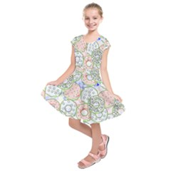 Donuts Pattern Kids  Short Sleeve Dress by ValentinaDesign