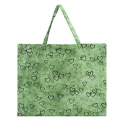Heart Pattern Zipper Large Tote Bag by ValentinaDesign