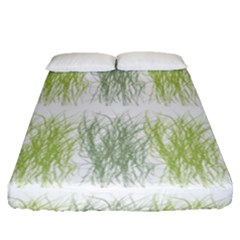 Weeds Grass Green Yellow Leaf Fitted Sheet (queen Size)