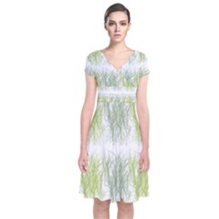 Weeds Grass Green Yellow Leaf Short Sleeve Front Wrap Dress by Mariart