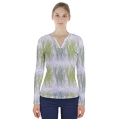 Weeds Grass Green Yellow Leaf V Neck Long Sleeve Top