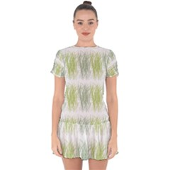 Weeds Grass Green Yellow Leaf Drop Hem Mini Chiffon Dress