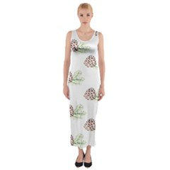 Pinecone Pattern Fitted Maxi Dress