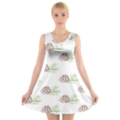Pinecone Pattern V Neck Sleeveless Skater Dress by Mariart