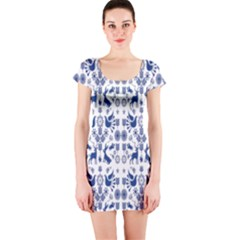 Rabbits Deer Birds Fish Flowers Floral Star Blue White Sexy Animals Short Sleeve Bodycon Dress by Mariart