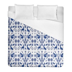 Rabbits Deer Birds Fish Flowers Floral Star Blue White Sexy Animals Duvet Cover (full/ Double Size) by Mariart