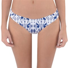 Rabbits Deer Birds Fish Flowers Floral Star Blue White Sexy Animals Reversible Hipster Bikini Bottoms